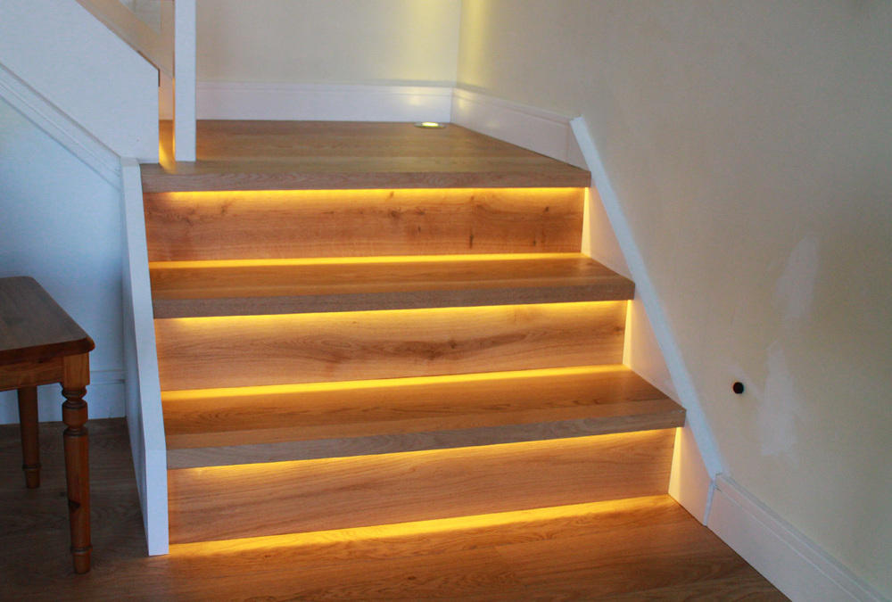 Oak Stair-cladding with LED's