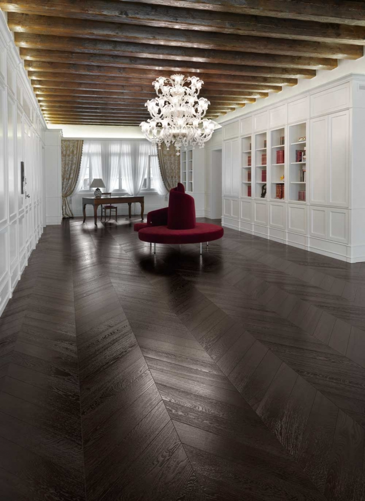 Wenge Chevron Parquet - a wenge effect wooden floor, dark coloured oak producing a black parquet