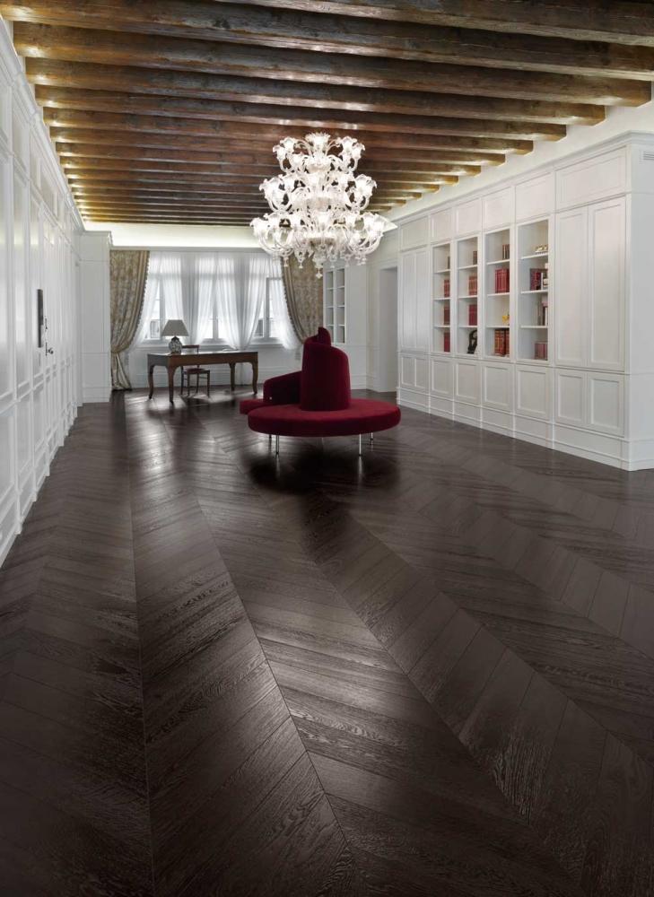 Dark Coloured Oak Black Parquet Floor