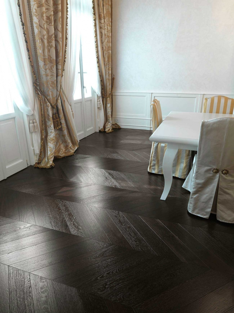 Wenge Chevron Parquet - a wenge effect wooden floor, dark coloured oak producing a black chevron floor
