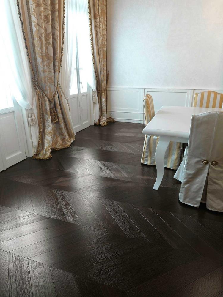 Wenge Effect Chevron Parquet Brushed Oak Floor