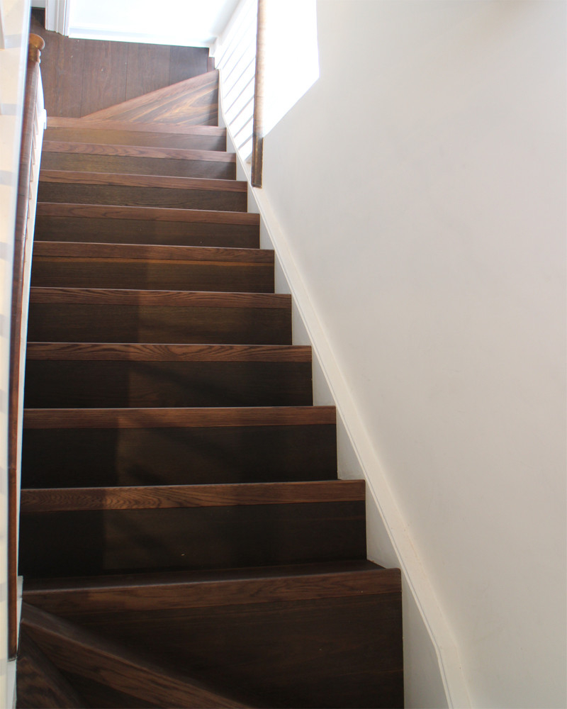 Richly Fumed Oiled Oak Clad Stairs - Wooden Flooring for staircases to match flooring fitted in adjoining rooms