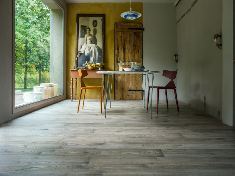 Grey coloured oak flooring