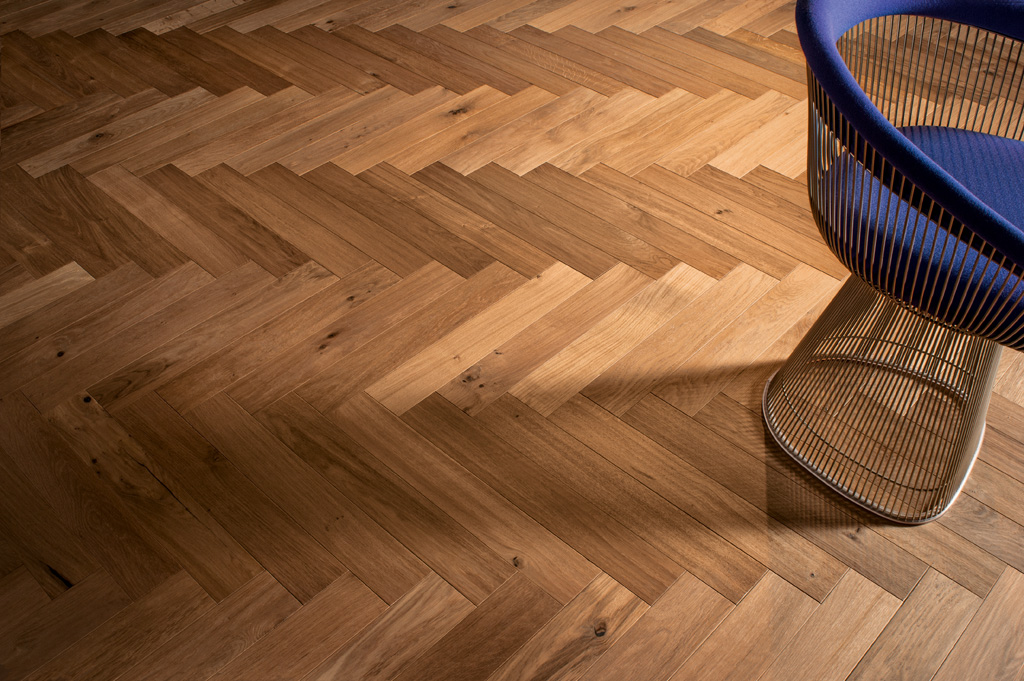 Saw marked Oak herringbone flooring