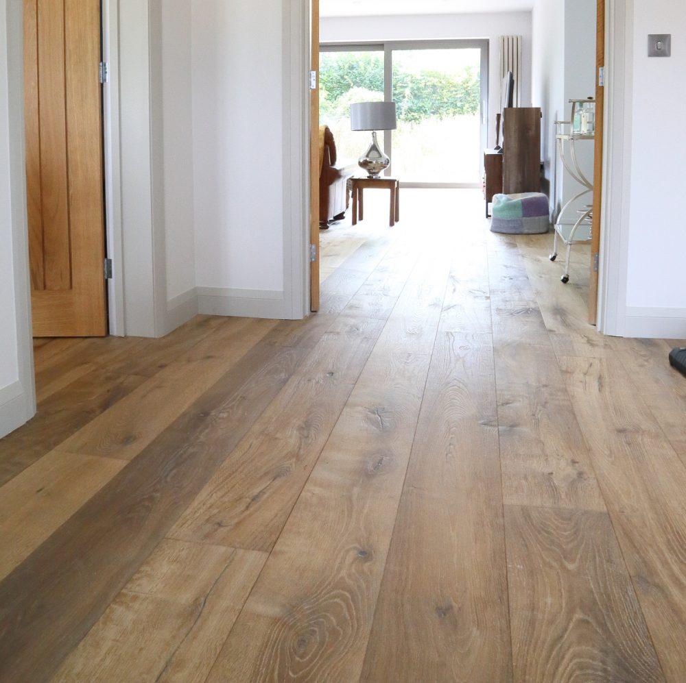 What Does Hardwood Artist Board Look Like: Sandy, Weathered Oak Flooring, Deeply Textured Wide Oak