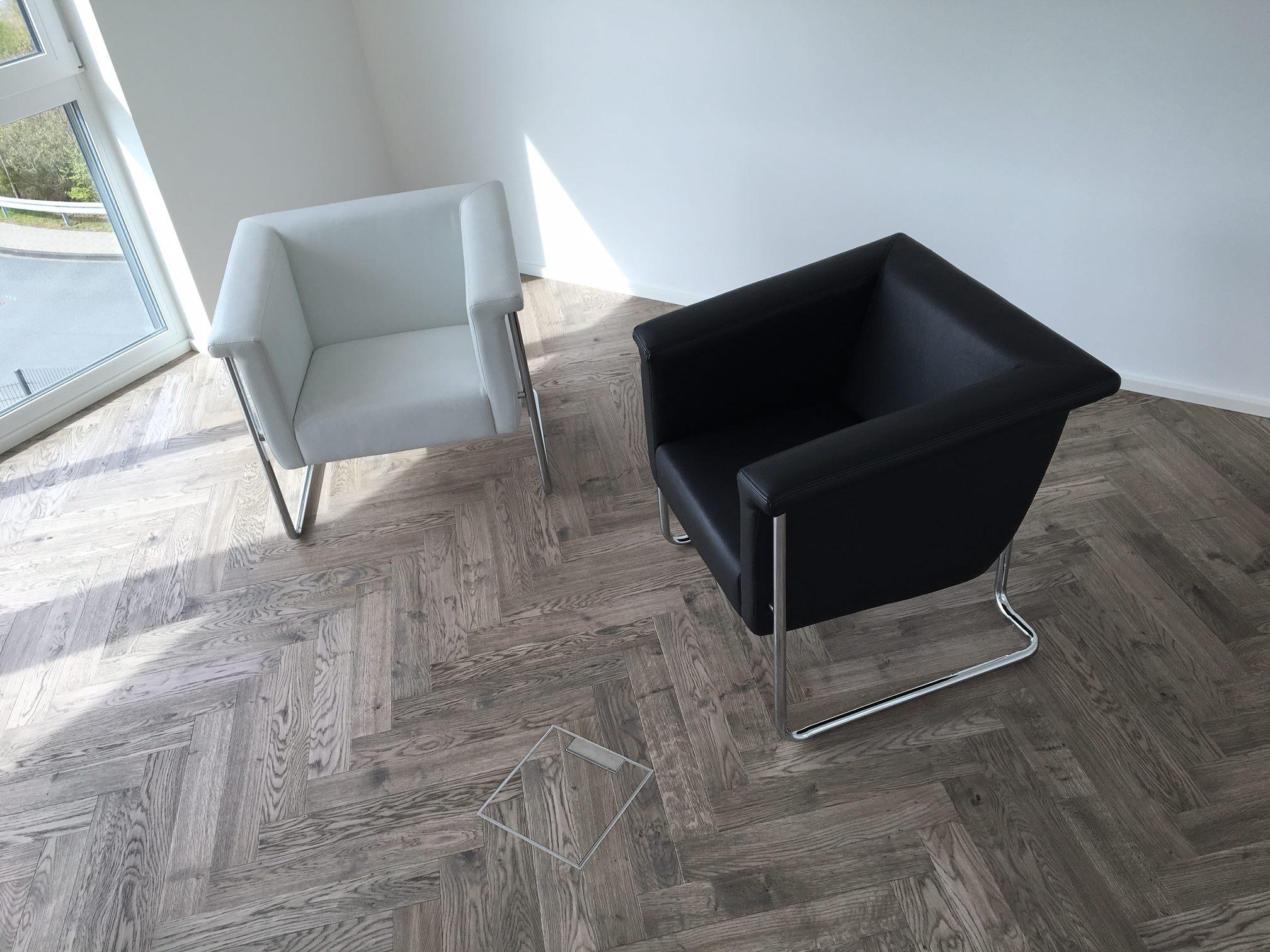 Grey Italian Herringbone Parquet Wooden Flooring