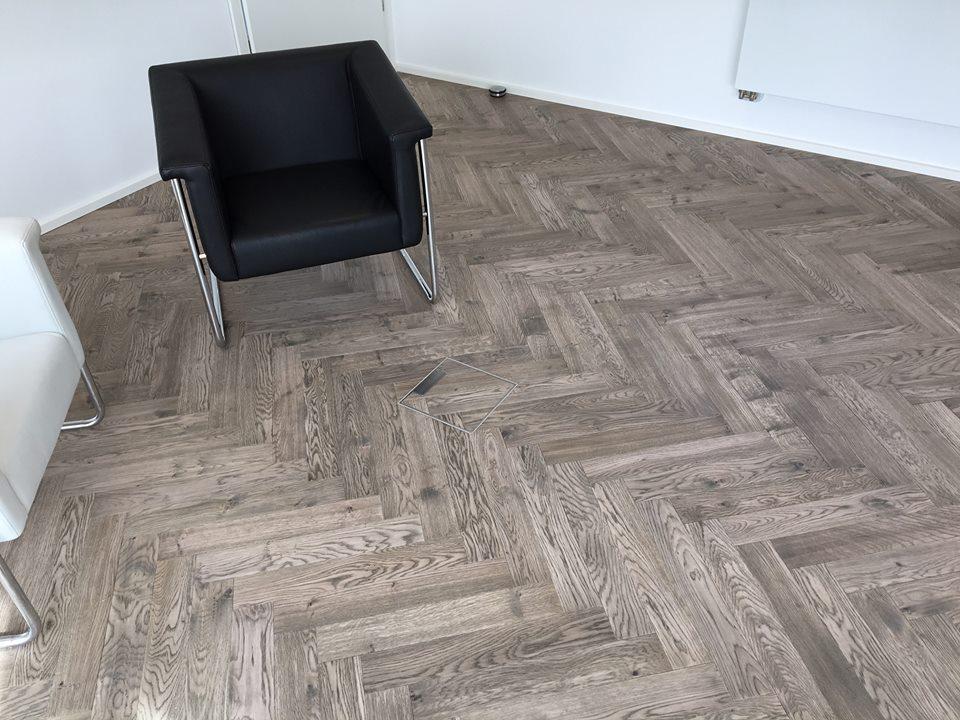 Grey Italian Oak Herringbone Stained Parquet Wooden Flooring