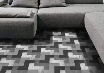 Three Coloured Geometric Wooden Mosaic