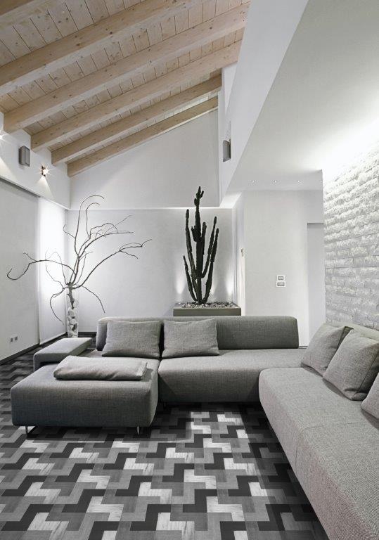 Multicoloured Grey Block Parquet Oak Wooden Flooring