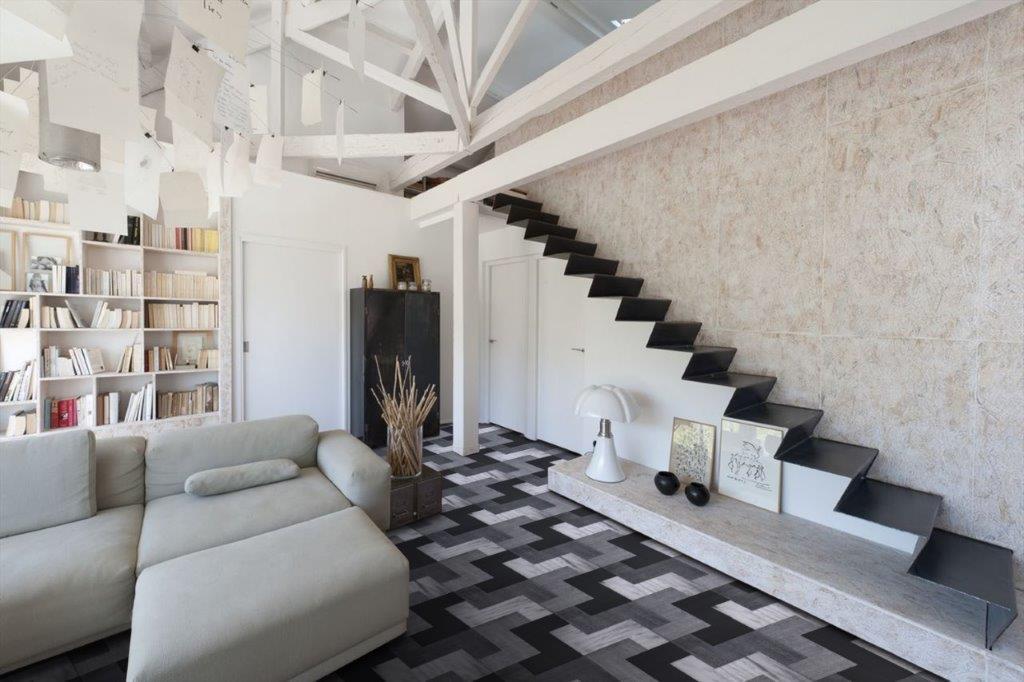 Italian Geometric Grey Black and White Parquet Wooden Flooring