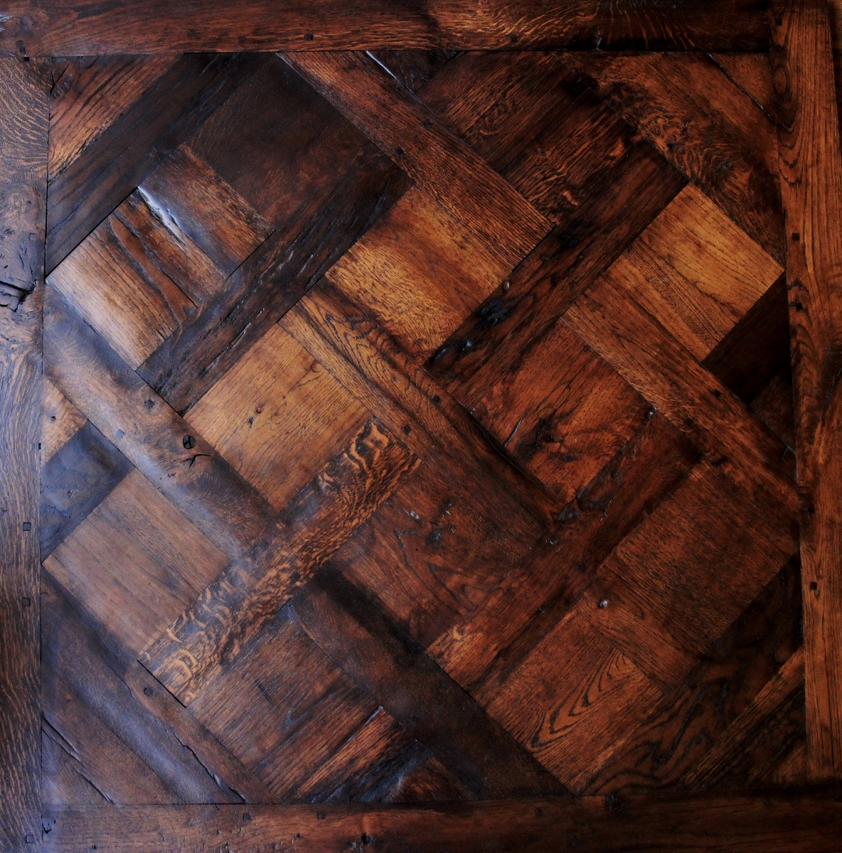 Aged and rustic Solid Oak Versailles Panels - A solid wood Versailles Parquet Floor