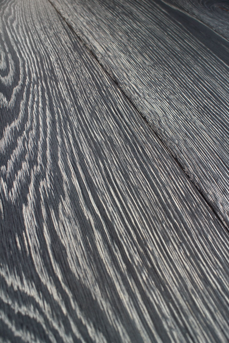 Lacquered Black Stained Oak Wooden Floor