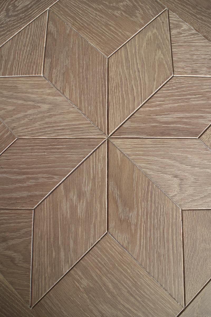 Star Pattern Geometric Pale European Oak Parquet Floor