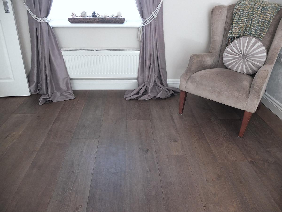 Grey Textured Brushed Engineered Oak Flooring