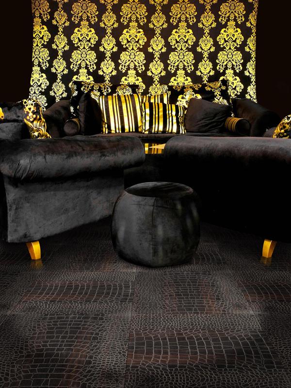 Black Engraved Crocodile Textured Oak Flooring