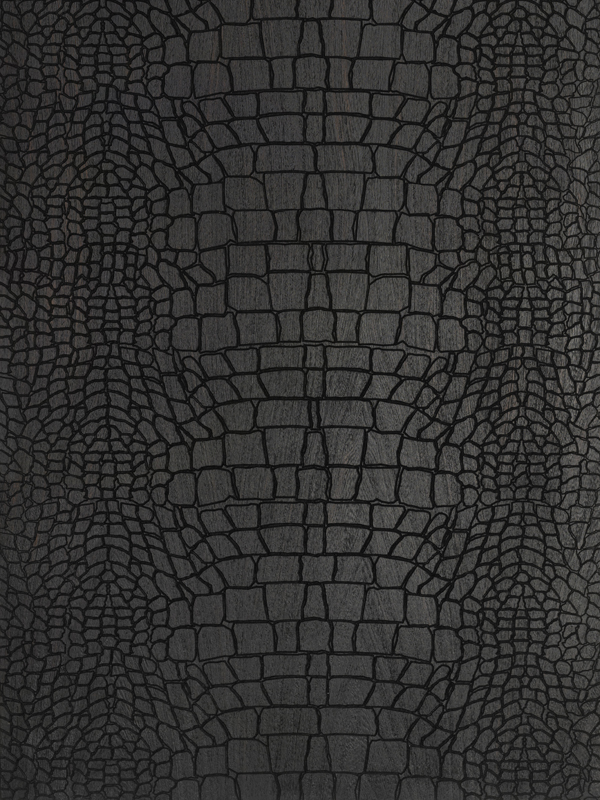 Crocodile Textured Black Engraved Oak Wooden Floor