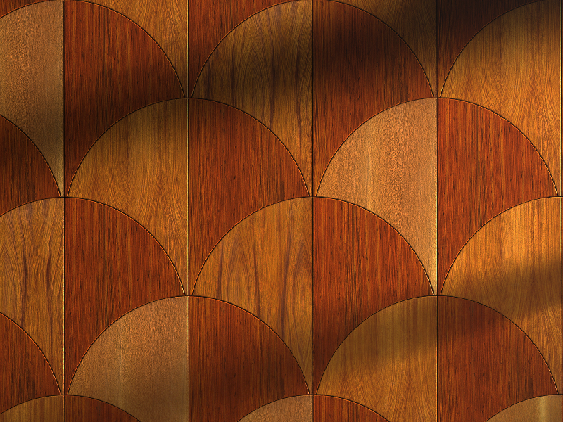 Exotic Wood Modern Curved Padauk and Doussie Parquet Flooring