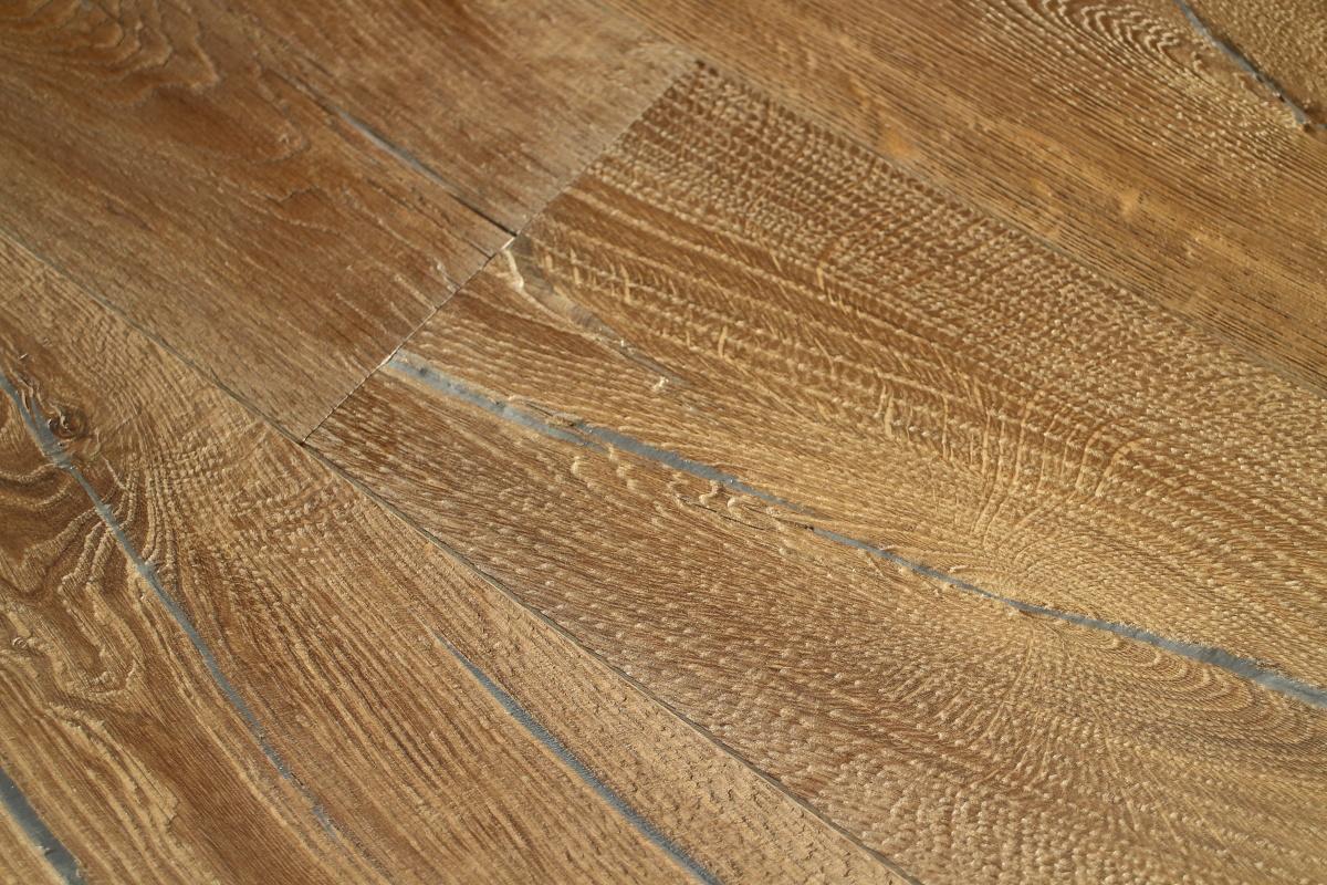 Heavily Distressed Brown Textured Engineered Oak