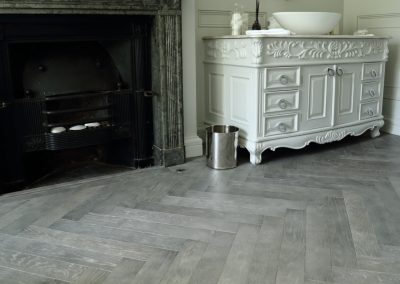 Cloudy Grey Oak Herringbone Flooring