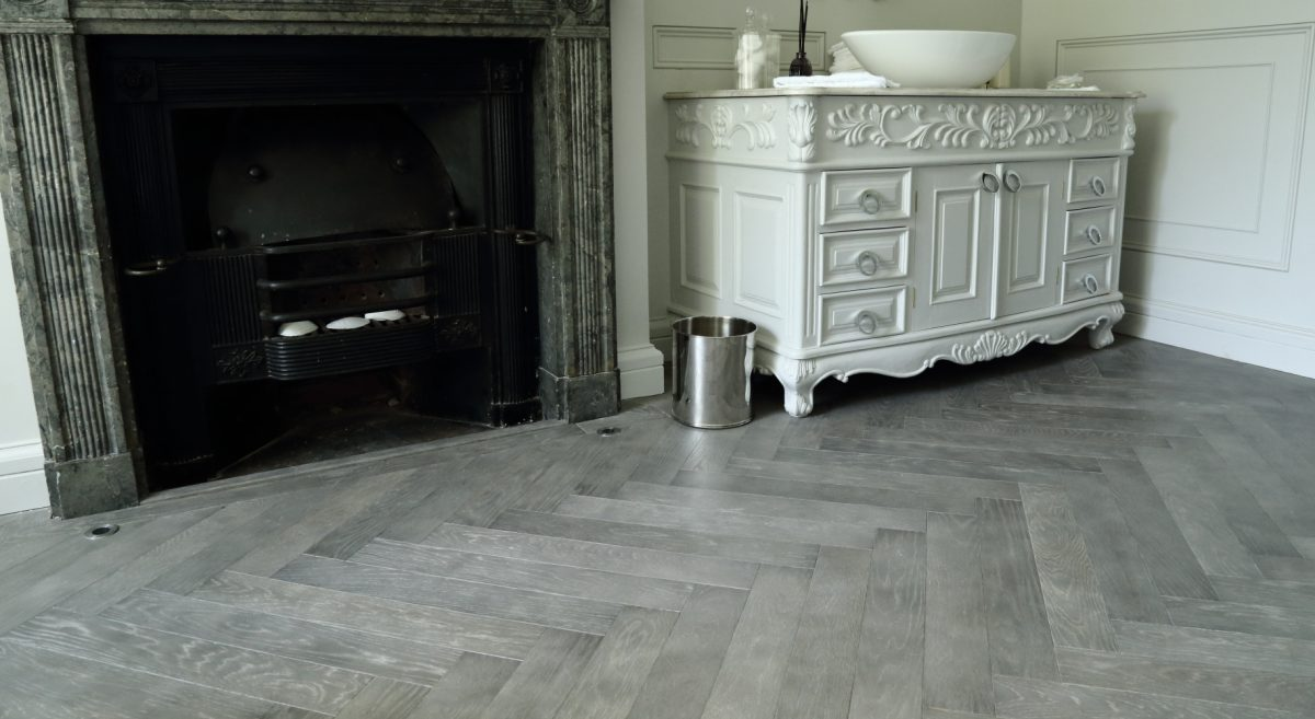 Cloudy Grey Oak Herringbone Flooring Hicraft Wooden