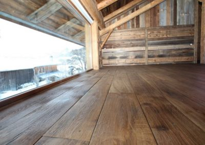 Chestnut stained distressed oak flooring