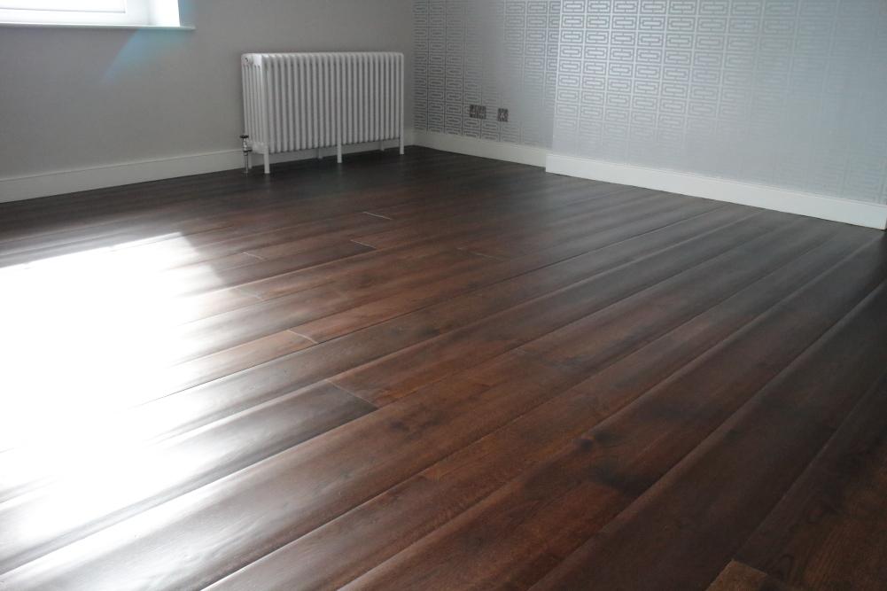 Rippled Engineered Jacobean Oak Wood Flooring
