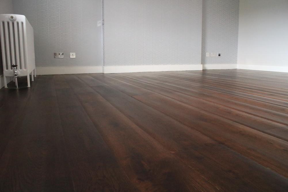 Dark Rippled Jacobean Oak Rustic Wooden Flooring
