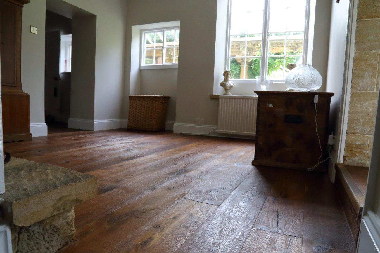 Dented distressed hand finished oak flooring