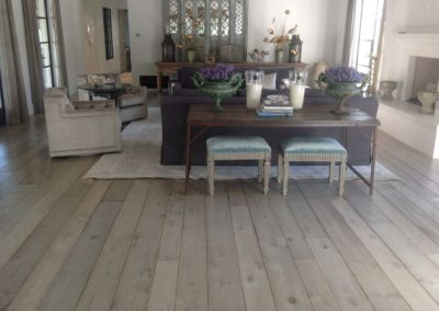 Whitewashed distressed oak wooden flooring