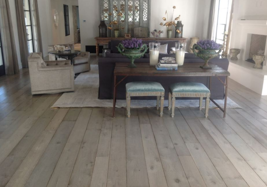 Weathered white and distressed oak wooden flooring