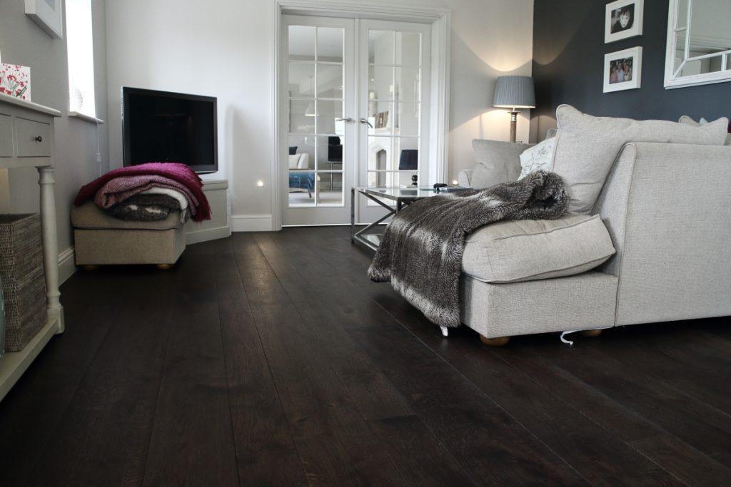 Charcoal dark oak wood panels