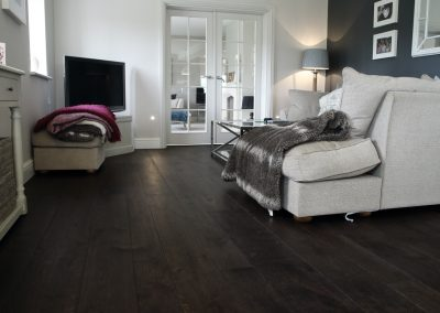 Dark charcoal engineered oak flooring