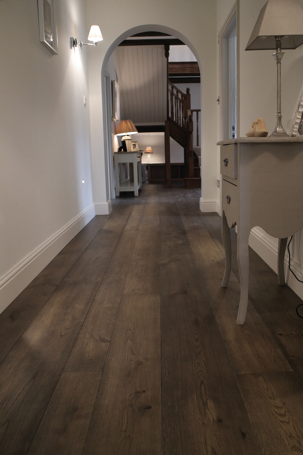 Warm Charcoal Grey Oak Flooring. Handfinished aok flooring available in many widths and lengths and 15 flooring colour choices