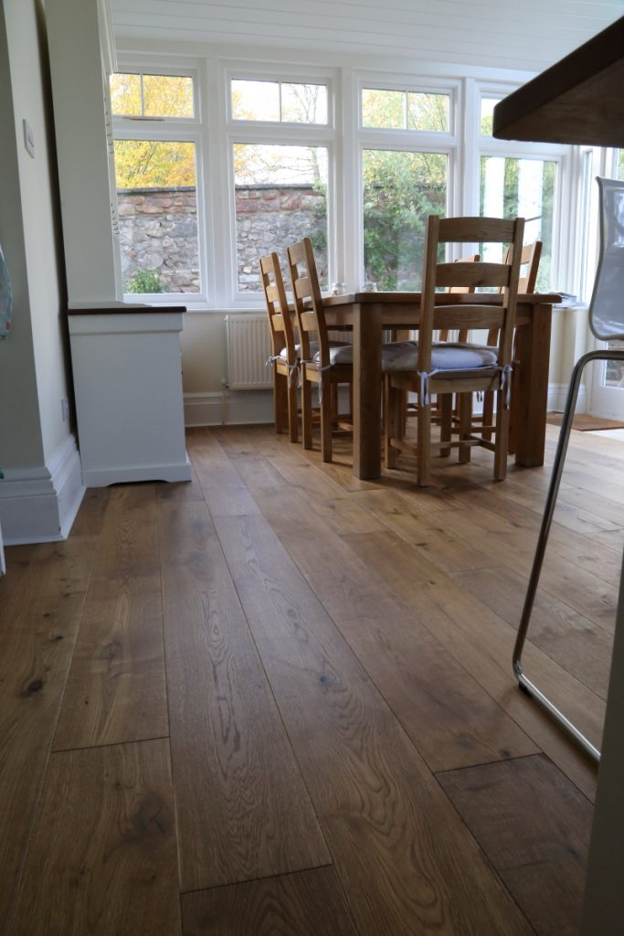 Golden brown lightly smoked oak flooring