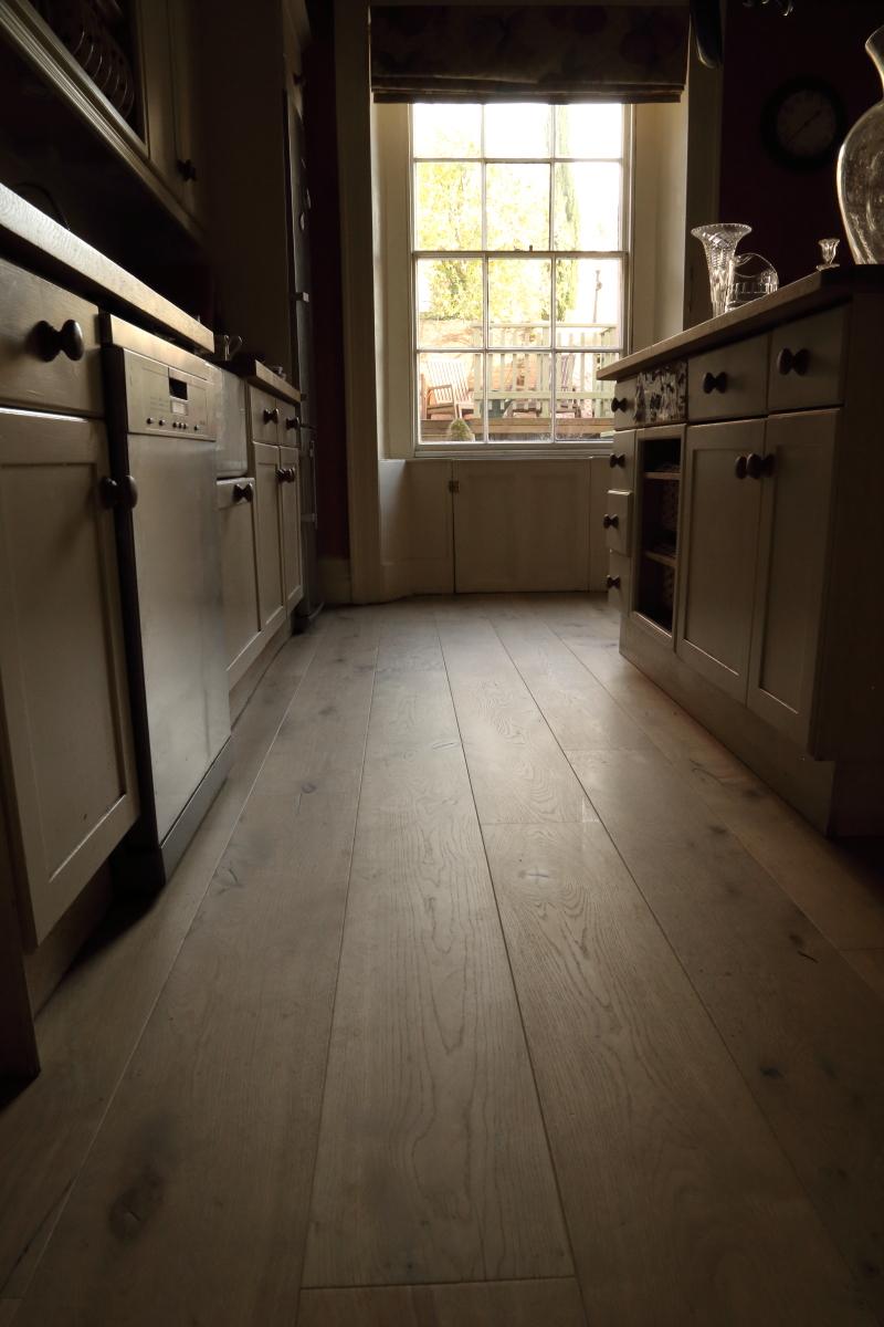Brown Distressed Brushed Textured Oak Wood Floor