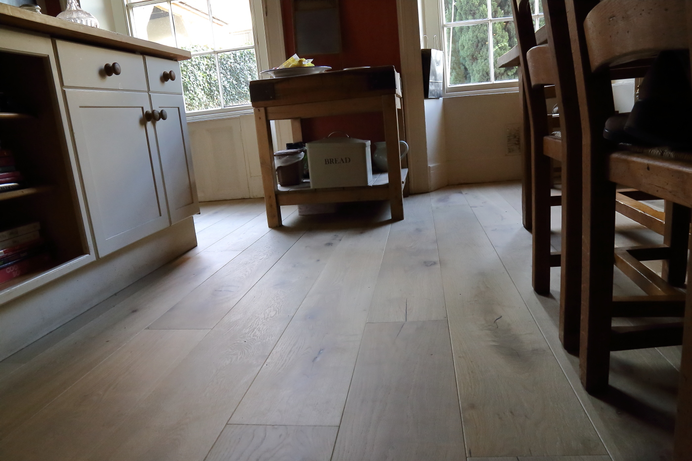 Lightly distressed and brushed hand finished Oak Flooring