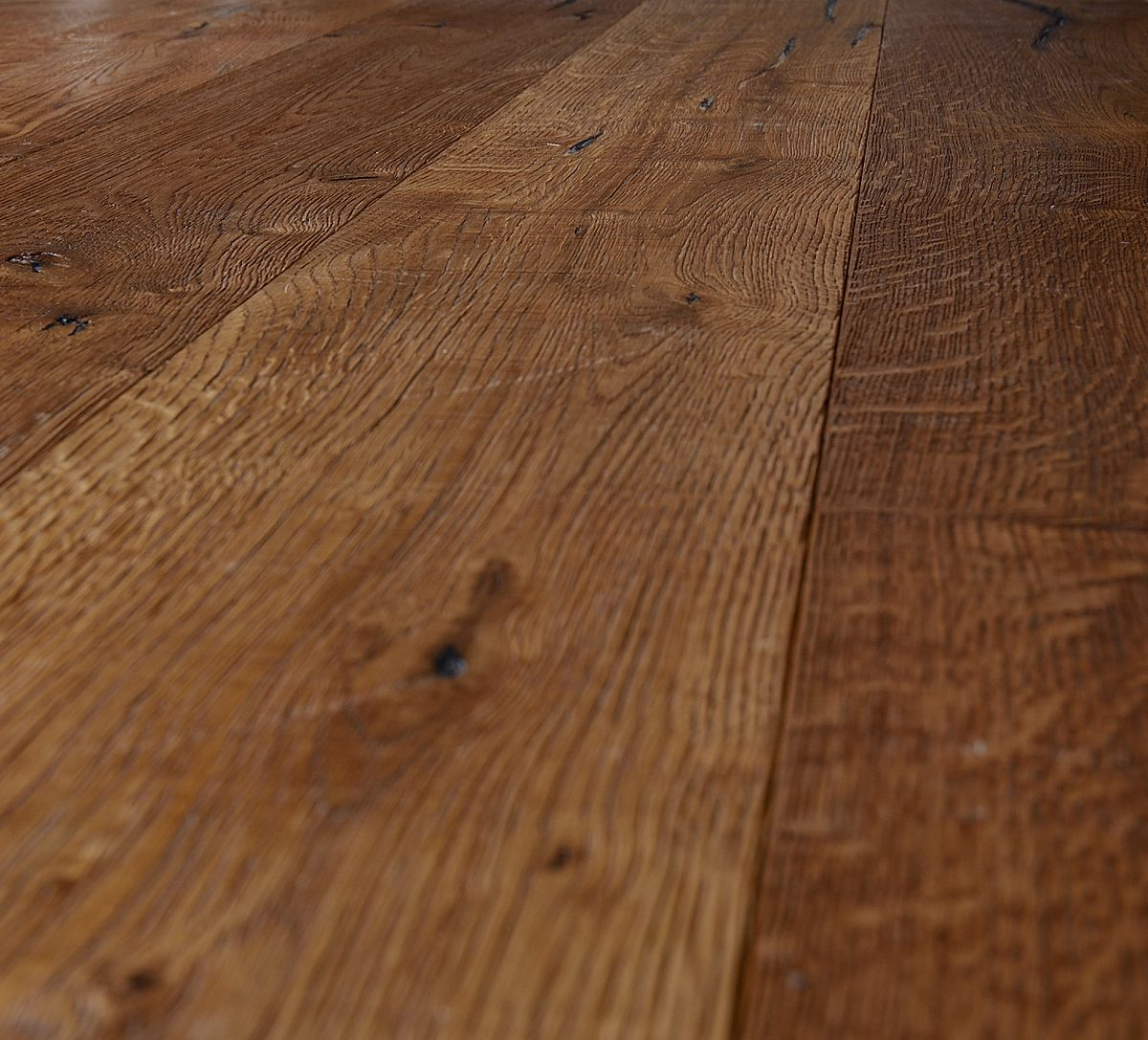 Deeply Brushed Distressed Rustic Oak Wooden Floor with Knots
