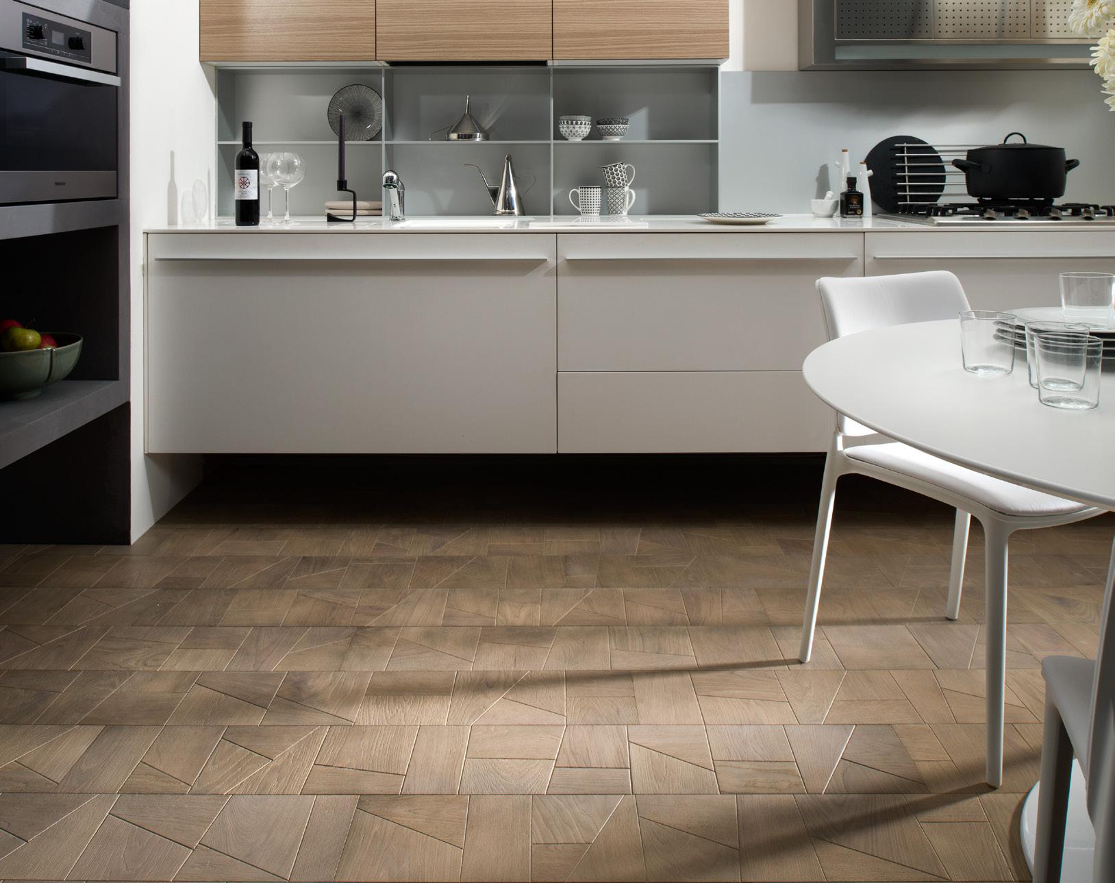 Modern Geometric Bevelled Edge Oak Panel Flooring