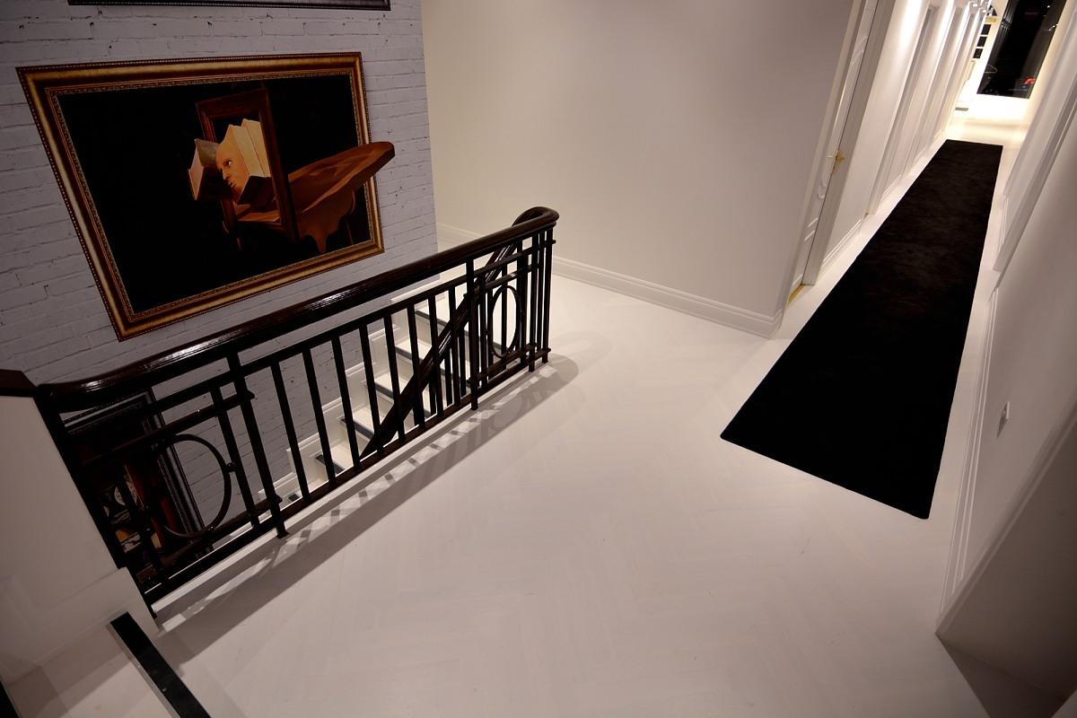 Italian White Herringbone Parquet Flooring