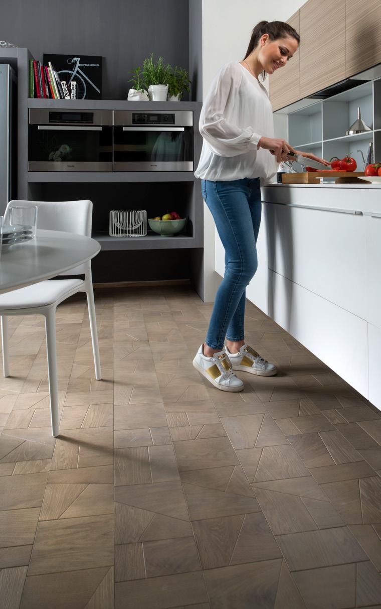 Geometric Plank Pale Oak or Walnut Wooden Flooring
