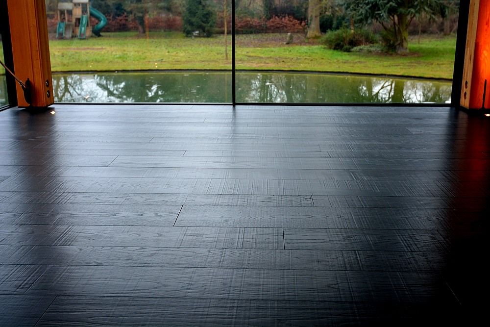 Saw Marked and Distressed Black Oak Floor