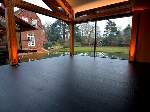 Black Charcoal Saw Marked Distressed Oak Flooring