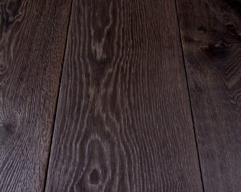 Scorched earth distressed oak flooring