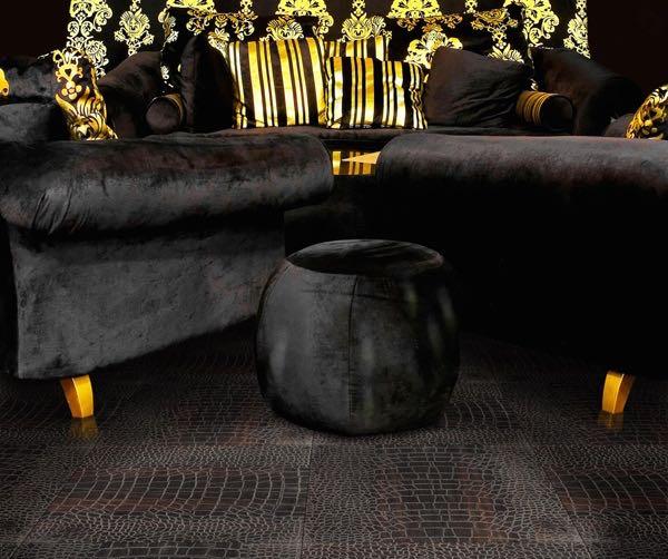 Black Flooring - Black, Crocodile textured oak flooring