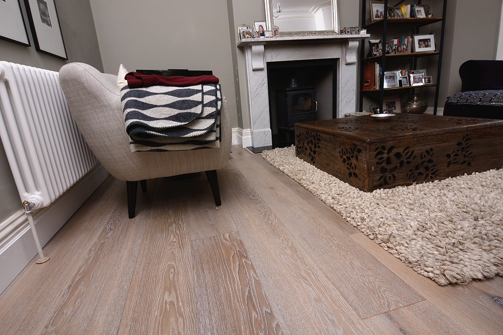 Lightly smoked white washed oak floor HC3012 available in variety of widths and lengths to suit any room