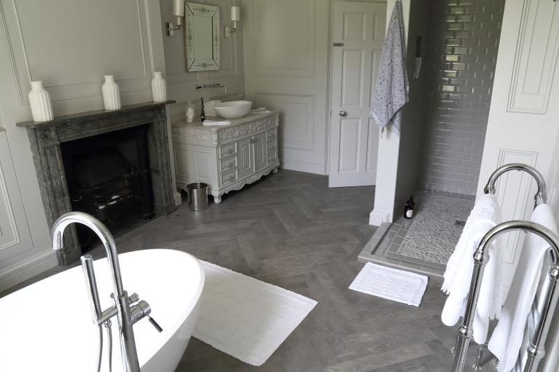 Matt Grey Parquet Herringbone Distressed Oak Floor