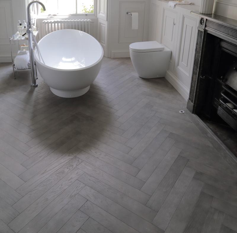 Worn Distressed Textured Grey Oak Wooden Floor