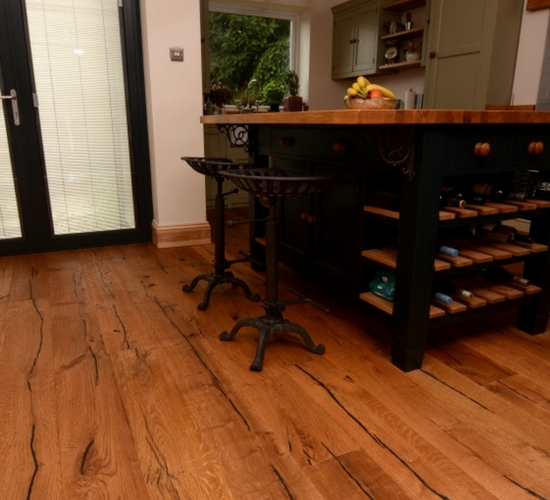 heavily distressed oak flooring
