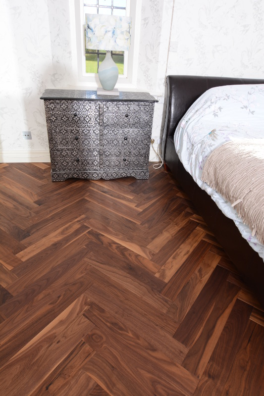 American Black Walnut Herringbone Flooring   A Luxury Walnut Parquet Wooden  Floor. You Can Clearly