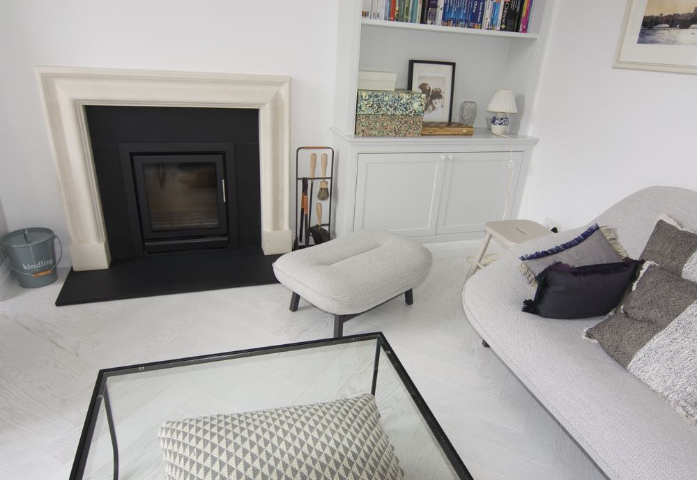 Textured white herringbone floor - seen here in a traditional home with a monochrome contemporary decor